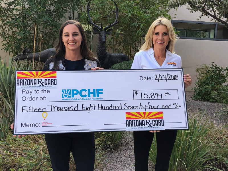 Arizona Rx Card Presents Donation to Phoenix Children's Hospital