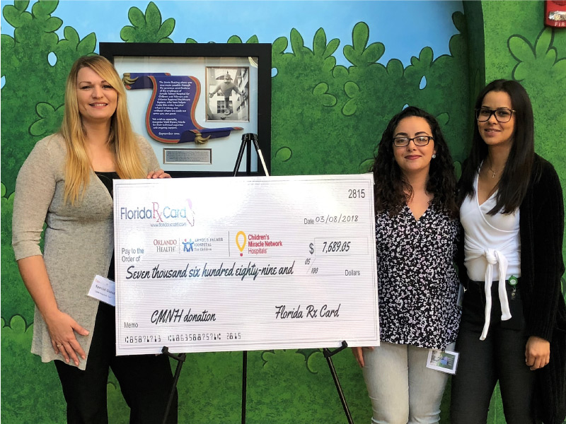 Florida Rx Card Presents Donation to Arnold Palmer Children's Hospital