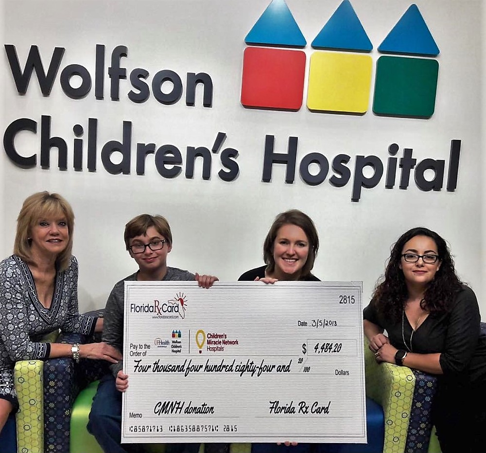 Florida Rx Card Presents Donation to Wolfson Children's Hospital