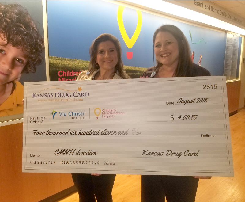 Children's Miracle Network Hospitals at Via Christi Health Receives Support from Kansas Drug Card and United Networks of America