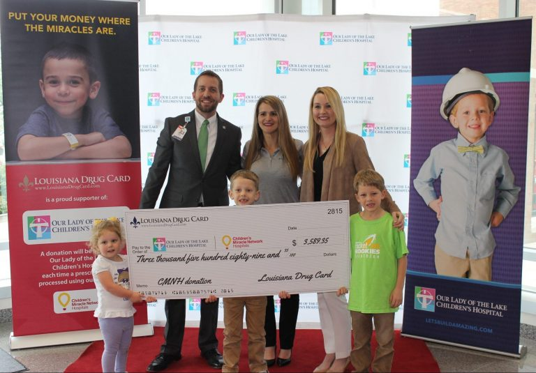 Louisiana Drug Card Presents Check for $3,590 to Our Lady of the Lake Children's Hospital
