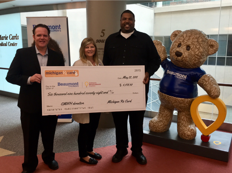 Michigan Rx Card Presents Donation to Beaumont Children's Hospital