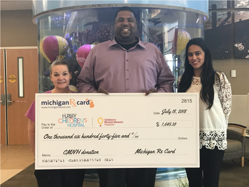 Michigan Rx Card Presents Donation and Tours Hurley Children's Hospital