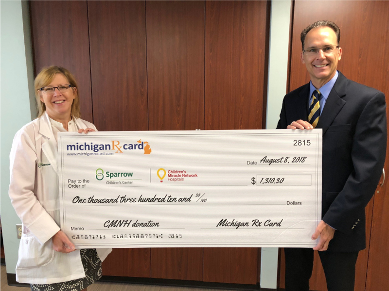 Michigan Rx Card Presents Donation to Sparrow Children's Center