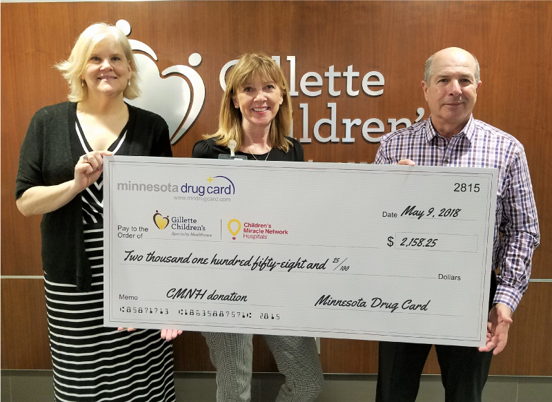 Minnesota Drug Card Presents Donation to Gillette Children's Specialty Healthcare