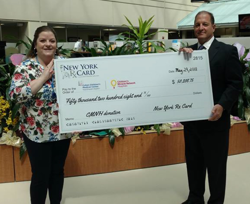 New York Rx Card Presents Donation to Cohen Children's Medical Center
