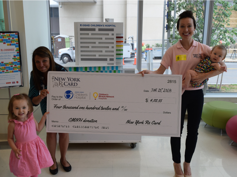 New York Rx Card Presents Donation to John R. Oishei Children's Hospital