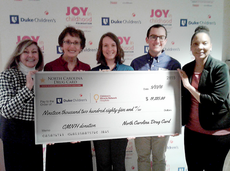 North Carolina Drug Card Presents Donation to Duke Children's Hospital