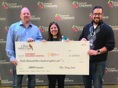 Ohio Drug Card Presents Donation to Cincinnati Children's Hospital