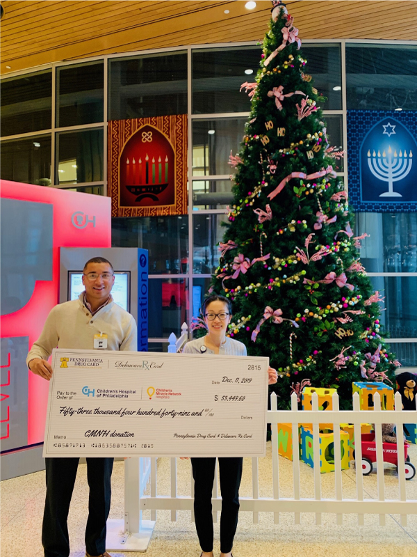 Pennsylvania Drug Card and Delaware Rx Card, powered by United Networks of America, Presents Donation to Children's Hospital of Philadelphia
