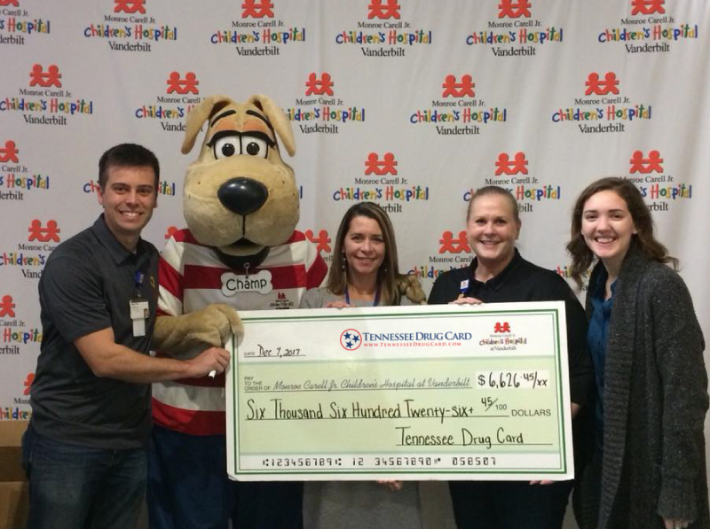 Tennessee Drug Card Presents Donation to Monroe Carell Jr. Children's Hospital at Vanderbilt