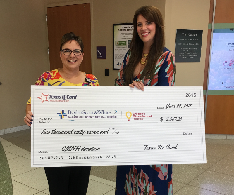 Texas Rx Card Presents Donation and Tours Baylor Scott & White McLane Children's Medical Center