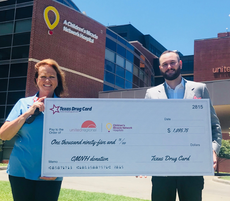 Texas Drug Card Presents Donation to Wichita Falls United Regional Hospital