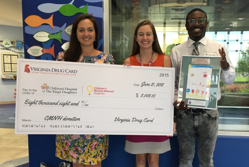 Virginia Drug Card Presents Donation and Tours Children's Hospital of The King's Daughters