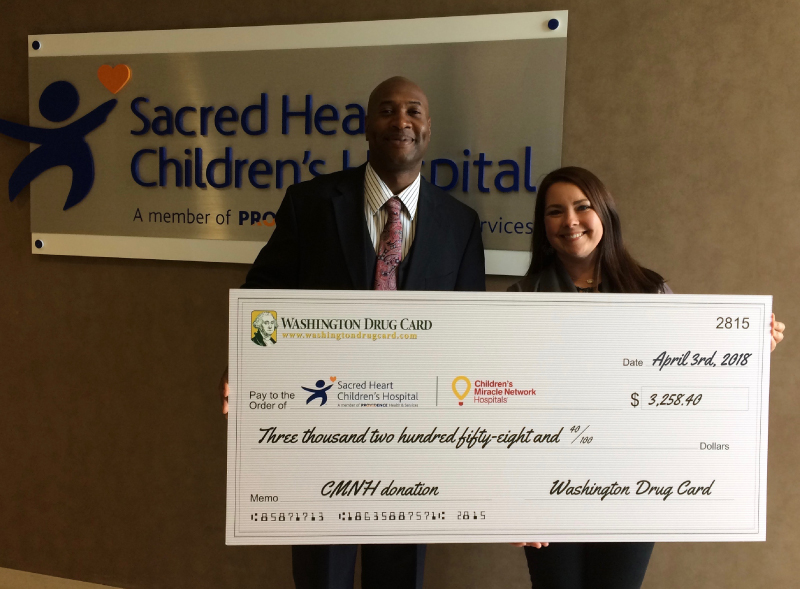 Washington Drug Card Presents Donation to Sacred Heart Children's Hospital